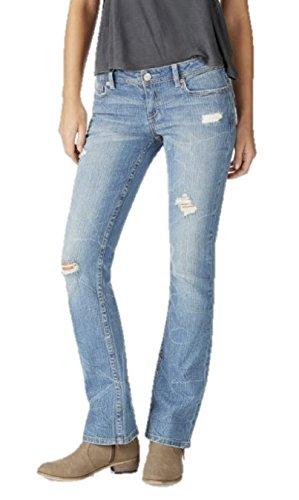 Aeropostale Womens Boot Cut Jeans Distressed 000 Short Blue