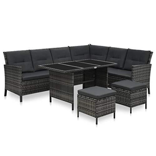 vidaXL Gartenmöbel 4-TLG. mit Auflagen Lounge Sofa Sitzgruppe Garten Garnitur Gartenset Sitzgarnitur Gartensofa Ottomane Tisch Poly Rattan Grau