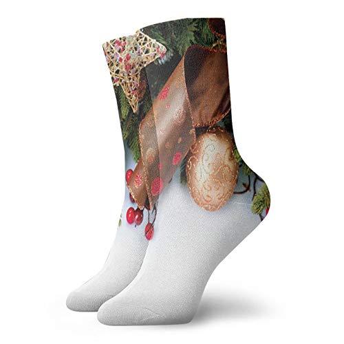 Soft Mid Calf Length Socks,Pine Cones With Garland Tree Topper Star Mistletoe And Swirled Ornate Elements,Socks for Men Women