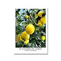 レモンオレンジプリントとポスターキャンバス絵画フルーツの葉の壁の絵のための北欧の装飾的な家のキッチンアートプリント (Color : A, Size : 60x90cm No Frame)