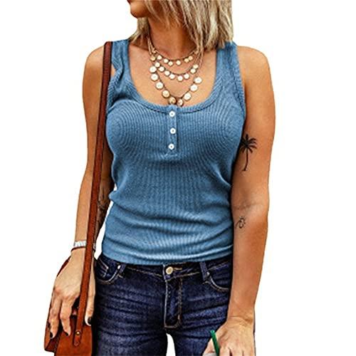 Mayntop Camiseta para mujer de verano, otoño, liso, acanalada, de manga corta, sin mangas, con cuello en V, C-azul, 44
