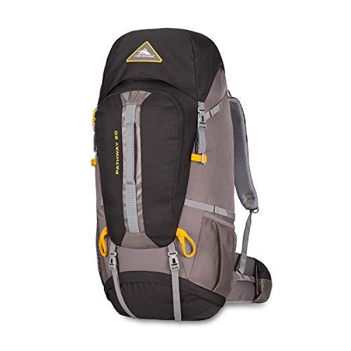 High Sierra Pathway Internal Frame Hiking Backpack, Black/Slate/Gold, 60L