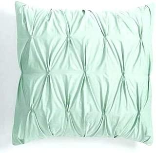 Urban Bedding Zipper Pintuck 2 Piece Pillow Decorative Throw Cushion Cover Sham Case 100% Cotton Sateen Euro 26 inch x 26 inch, Mint Green