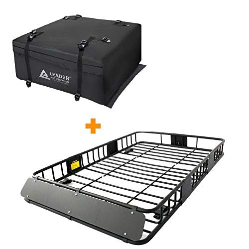 Leader Accessories Roof Rack Cargo Basket Set, Car Top Luggage Holder 64'x 39'x 6' + Waterproof Rooftop Cargo Carrier Bag