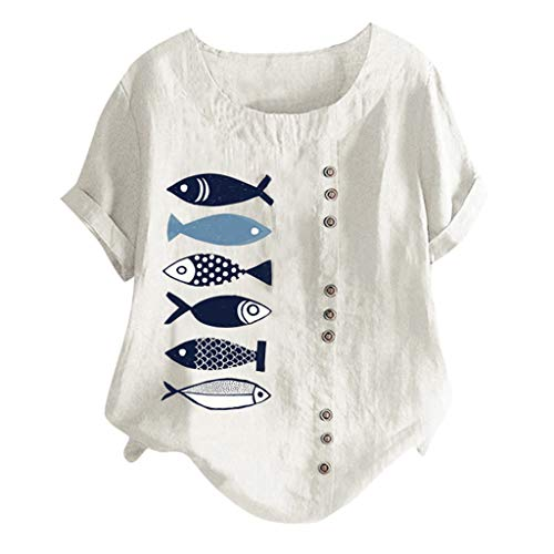 Lazzboy Women T-Shirt Tops Plus Size Loose Print Short Sleeve Buttons Decor Short Sleeve Ladies Tee(4XL(22),White-Fish)