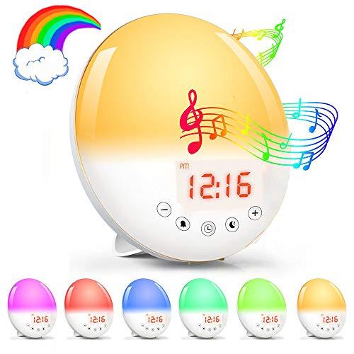 Lichtwecker Sonnenaufgang Sonnenuntergang Simulation Wecker,LarmTek Wake up Licht mit 30 Helligkeit 7 Farbige 8 Natürlichen Sounds und 1 Aufnahmeton UKW-Radio,ideal als Geschenk für Kinder Freunde