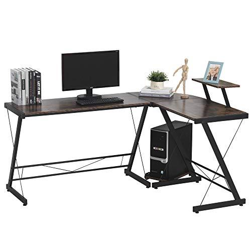 HOMCOM Mesa Escritorio de Oficina de Forma L con Soporte de CPU Estante de Impresora Niveladores Ajustables Gran Espacio Marco Metálico 155x115x91,5 cm Marrón