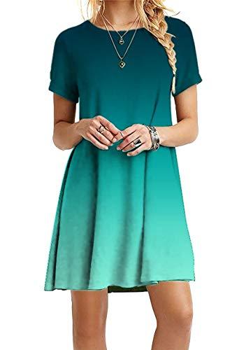 OMZIN Kleid Damen Sommerkleid Tunika Freizeitkleid Baumwolle Basic Kleid Casual Kleid Einfarbig Elegant Minikleider Grün M