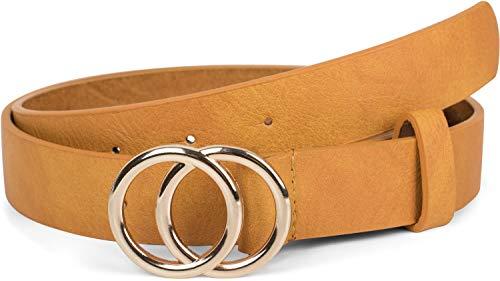 styleBREAKER Damen Gürtel Unifarben mit Ringschnalle, Hüftgürtel, Taillengürtel 03010093, Größe:85cm, Farbe:Curry-Gold