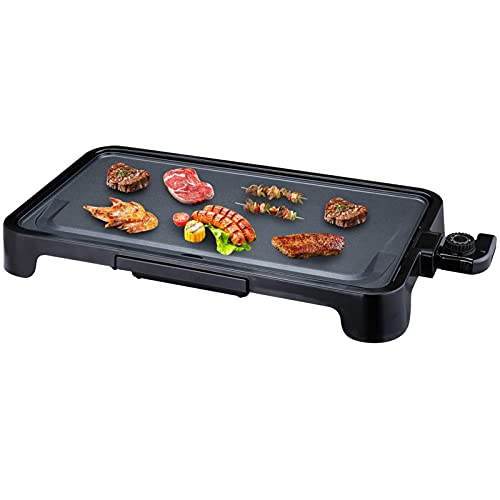 ALES Everyday Nonstick Electric Griddle, 1500W Pancake Griddle Indoor BBQ Grill Party Smokeless Griddle Pan,Healthy-Eco,Non-stick Coating,Hassle-Free Clean Up,Black