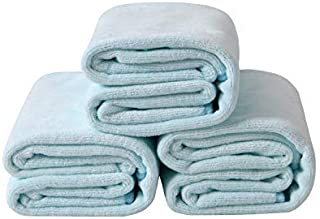 INCOOL Microfiber Towels Hand Towels Set,Baby Blue - Pack of 3-Premium Quality Face Cloths, Highly Absorbent and Soft Feel...