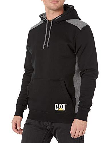 Caterpillar Men's Logo Panel Hooded Sweatshirt (Regular and Big Sizes), Black, X Large