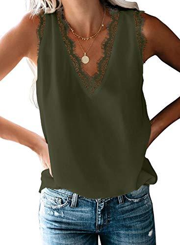 Aleumdr Top Damen Sexy Top V-Ausschnitt Top mit Spitze Ärmellose Tank Top Weste Slip Sommer Strand Vest Top Bluse 1-grün XL