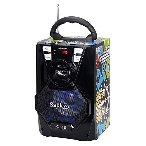SAKKYO Mini Cadena PORTATIL APM174D BATERIA RECAEGABLE 10W RMS Karaoke Blue