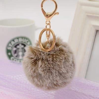Lifegadget New Double Color Keychain Fur Pom Pom Key Chain Faux Rabbit Hair Bulb Bag Car Ornaments Fur Ball Pendant Best Gifts EH-702