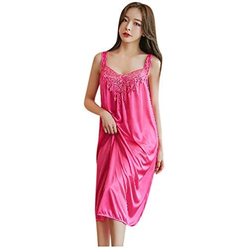 Gergeos Fashion Wide Strap Chemise Lace Nightdress Pajamas Women Casual Sleepwear Nightgown Watermelon Red