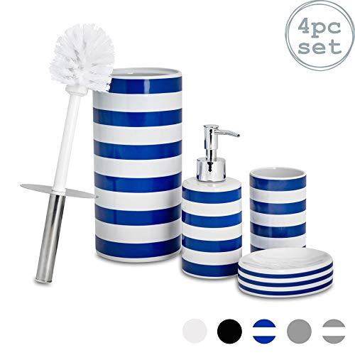 Harbour Housewares Set di Accessori per Il Bagno - Dispenser per Sapone, piattino saponetta, Porta-spazzolini, Porta-scopino - Blu Navy a Righe