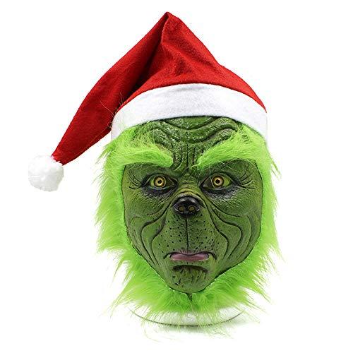 mimisasa Máscara Grinch Verde Asustadizo Traje de Navidad Máscara látex Casco Adulto Máscaras
