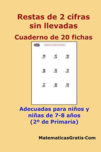 Restas de 2 cifras sin llevadas: Cuaderno de 20 fichas (Cuaderno de fichas de Matemáticas)
