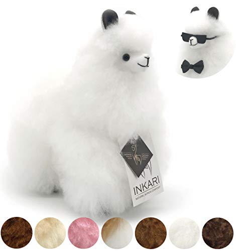 Alpaka Plüschtier aus echter Alpaka-Wolle, handgefertigte Unikate, fair und nachhaltig produziert, 23 cm großes Stofftier, weiß, hypoallergen