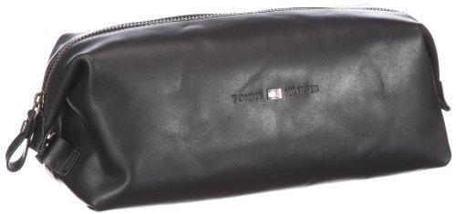 Tommy Hilfiger Herren Holly Leather WASH Bag Kulturtaschen, Schwarz/Black, 26x12x10 cm