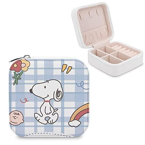 Snoopy - Joyero de dibujos animados de dibujos animados de piel sintética para viajes, para collares, pendientes, pulseras, anillos, relojes, caja de almacenamiento para mujeres