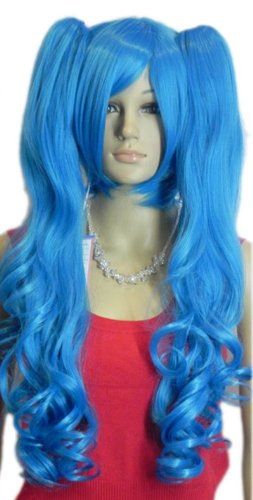 Qiyun Bleu Boucle Ondule Longue 2 Clip-On Ponytails Cheveux Complete Cosplay Anime Costume Perruque