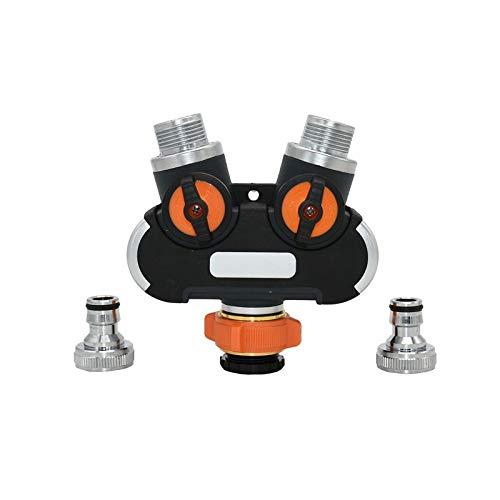 Cajas de riego con tapa, 1 divisor de agua de 5/8 pulgadas, grifo de jardín de 2 vías hembra 3/4, válvula de riego y divisor de tubo y conector rápido, botella de riego nasal (color: BSP)