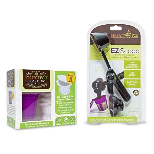 2-Item Bundle EZ-Cup 2.0 Reusable Coffee Pod Starter Kit + EZ-Scoop | 2-in-1 Coffee Scoop | Compatible with Keurig and Select Single Serve Coffee Makers