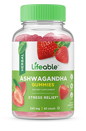 Lifeable Ashwagandha Gummies – Great Tasting Natural Flavor Vitamin Supplement Gummy – Gluten Free Vegetarian GMO-Free Chewable – for Stress and Anxiety – for Adults, Man, Women – 60 Gummies