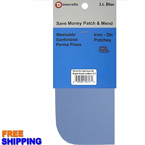 2 Pieces Iron-On Canvas Repair Patches 5 x 5 Inch, Light Blue Compare to Bondex