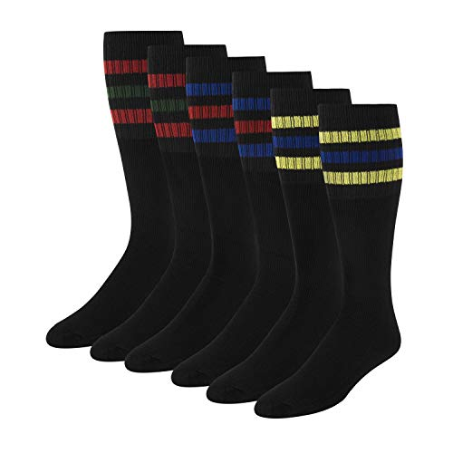 Men's Tube Socks Over the Calf High 21' (6-Pair) Size 9-10-13-15, Black