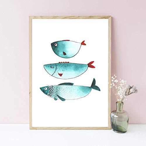 Din A4 Kunstdruck ungerahmt - Fisch Fische Trio Meerestier Maritim Aquarell, Naive Malerei, Türkis, Grün Deko, Badezimmer Geschenk Druck Poster Bild