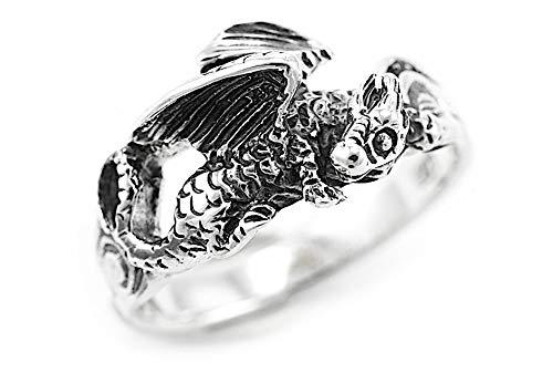 WINDALF Vintage Glücks Drachen Silberring NEPOMUK 0.9 cm Sleepy Dragon Schutzring Vikings Freundschaftsring 925 Sterlingsilber (Silber, 60 (19.1))