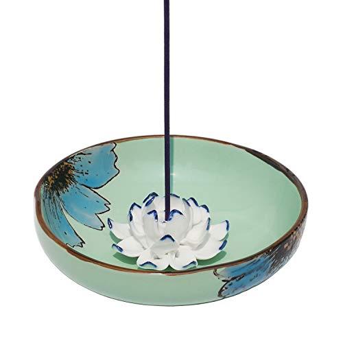 Räucherstäbchenhalter aus Keramik Porzellan Asiatisch Räucher-Zubehör Lotos Handbemalt Blume, Chinesischer Stil Räucherschale Halter zum Räuchern von Räucherstäbchen
