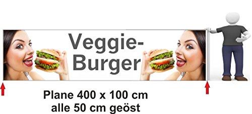 Bannière publicitaire Veggie Burger 400 x 100 cm