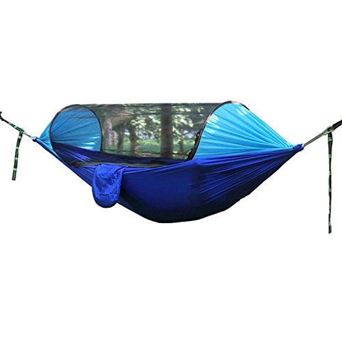 MMWYC Camping Hammock With Mosquito Net, Camping Hammock Portable Ultra-Light Double Parachute Hammocks Hiking, Travel, Cycling,Backpacking, Beach, Yard (Color : Blue, Size : 250 * 120cm)