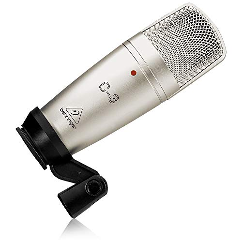 Behringer C-3 - Micrófono de condensador (diafragma, de estudio), color plateado