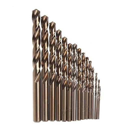 Jinyouqin Accesorios de Herramientas Brocas 15pcs Cobalto For M35 Metal Madera De Trabajo HSS Co Acero Caña Recta 1.5-10mm Broca Helicoidal Power Tools