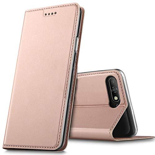 Verco Handyhülle für Y6 2018, Premium Handy Flip Cover für Huawei Y6 2018 Hülle [integr. Magnet] Book Hülle PU Leder Tasche, Rosegold