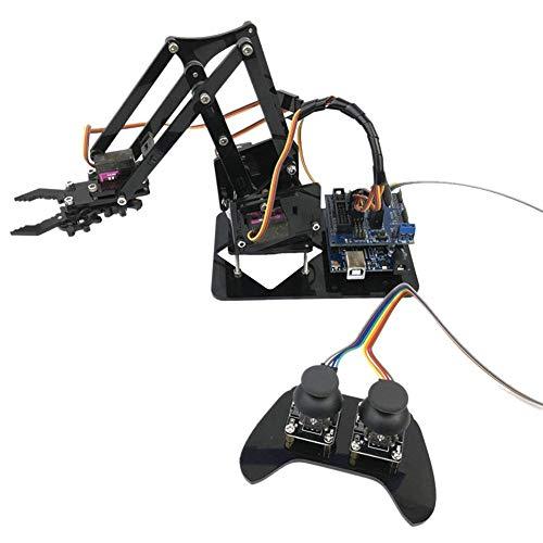 Taidda Robot Brazo mecánico, Robusto, Duradero 4DOF Brazo robótico Consola de Juegos de Control Remoto mg90s Servo SNAM2000 para Arduino UNO R3 para Estudiantes universitarios