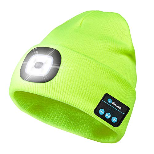 GAFres Unisex Bluetooth LED Beanie Hat with Light, Built-in Stereo Speaker and Mic,Headlamp Headphone Beanie,Gifts for Men&Women,Winter Warm Knit Cap...