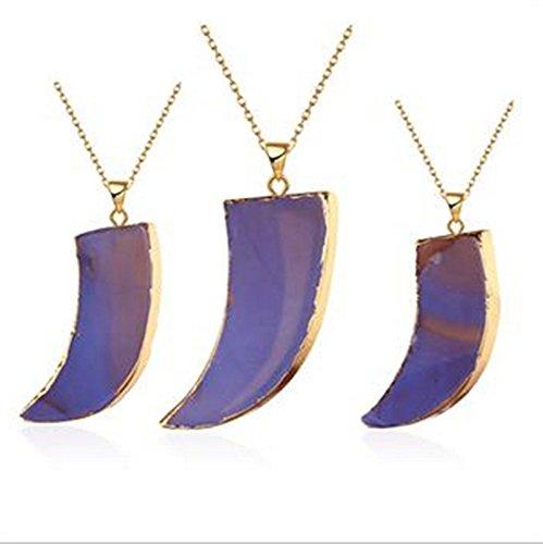 Aeici Schmuck Vergoldet-Basis Anhänger Halskette für Frauen Halbmond Halskette Braun Dimension: 61X2.8X6.4CM