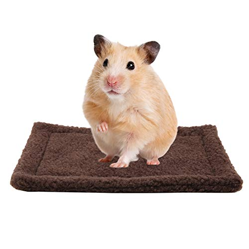 HEEPDD Kleinetier Meerschweinchen Hamster Bett Haus rechteckigen Plüsch warme Schlafmatte Kissen Heimtierbedarf für Mäuse Ratten Chinchillas Kaninchen Igel Eichhörnchen(Dunkelbraun)