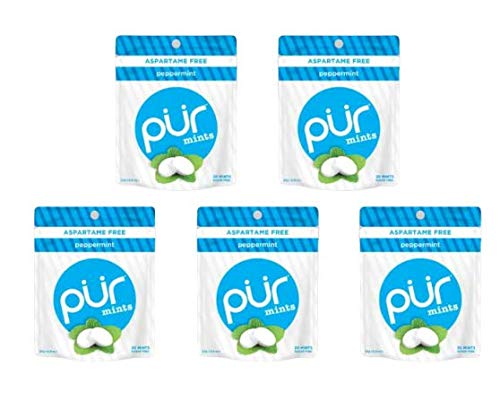 PUR 100% Xylitol Breath Mints, Peppermint, 20 Count (Pack of 5) Sugar-Free + Aspartame Free, Vegan + non GMO