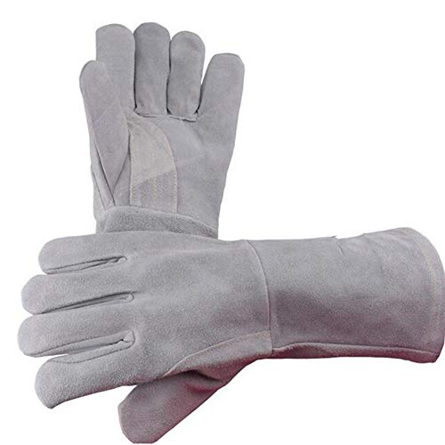 Preisvergleich Produktbild LAIABOR Extreme Heat-Schweißhandschuhe Leder-Verschleiß-Schweißhandschuhe schneiderfeste Schweißhandschuhe, Gray