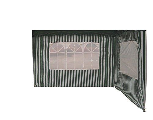 Profiline 2er Set Pavillon Seitenteile für 300 x 300 Pavillon, grün/weiß gestreift mit Fenster, Polyester, 452328