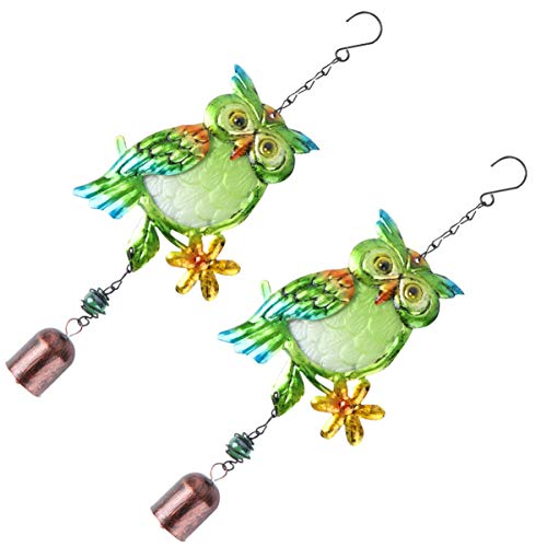 YARNOW 2 Stücke Glocken Windspiel Glas Eule Figur Garten Glockenspiel Metall Fenster Hängedeko Windglocke Weihnachten Deko Anhänger für Draußen Balkon Terrassen Dekoration