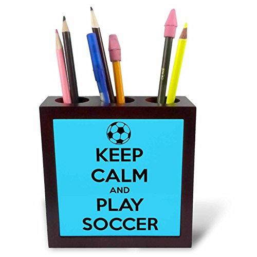 3drose PH 171942 1 Keep Calm and Play Footie, groen en wit Tile penhouder, 12,7 cm