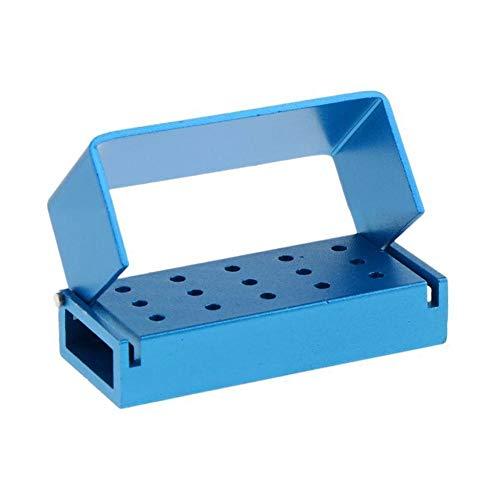 Dental Bur Burs Holder Block Disinfection Box Aluminium Autoclave 15 Holes (Blue)